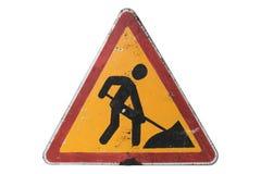 Smutsig ` för arbeten för vägmärke`-väg som isoleras på vit Royaltyfria Bilder