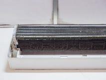 Smutsig fan för ekorrebur i luftkonditioneringsapparat Fotografering för Bildbyråer
