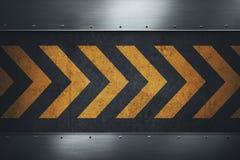 Smutsig grungy asfaltyttersida med gula varningsband Royaltyfria Bilder