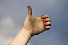 smutsig hand Arkivbild