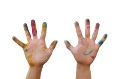 Smutsig hand med färg Royaltyfri Fotografi