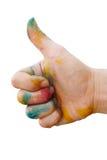 Smutsig hand med färg Royaltyfria Foton