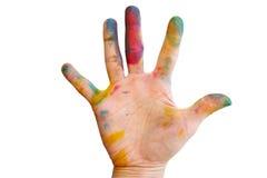 Smutsig hand med färg Royaltyfri Foto