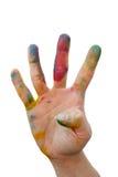 Smutsig hand med färg Royaltyfri Bild