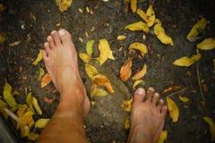 Smutsig kal fot som kliver på jordning fotografering för bildbyråer