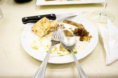 smutsig maträttwhite Fotografering för Bildbyråer