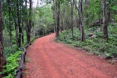 Smutsig röd väg i löst Royaltyfri Foto