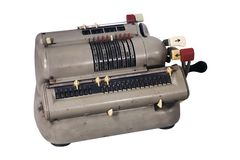 Smutsig tillfoga maskin med blandade knappar och strömbrytare arkivbilder