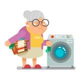 Smutsig tvätteri för Wash i illustration för vektor för design för gammal dam Character Cartoon Flat för farmor för hushåll för t Royaltyfri Bild