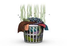 Smutsig tvätteri i korgen, illustration 3d Fotografering för Bildbyråer