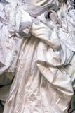 Smutsig vit tvätteri i en tvätteri royaltyfri fotografi