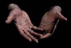 smutsiga fingerhänder öppnar outstretched Arkivbild