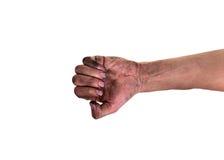 Smutsiga fingernaglar, hans händer är smutsiga med smuts som inkvarteras i, spikar, bakterier spikar under Royaltyfri Fotografi