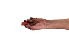 Smutsiga fingernaglar, hans händer är smutsiga med smuts som inkvarteras i, spikar, bakterier spikar under Arkivbilder