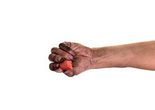 Smutsiga fingernaglar, hans händer är smutsiga med smuts som inkvarteras i, spikar, bakterier spikar under Royaltyfri Bild