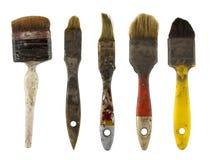 smutsiga gammala paintbrushes Royaltyfri Fotografi