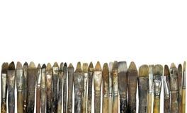 smutsiga gammala paintbrushes Arkivfoto