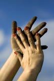 smutsiga händer Royaltyfri Fotografi