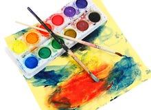 smutsiga målarfärger ställde in vattenfärg Arkivbilder