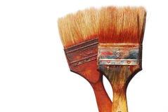 smutsiga paintbrushes Arkivbilder