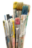 smutsiga paintbrushes Royaltyfri Foto