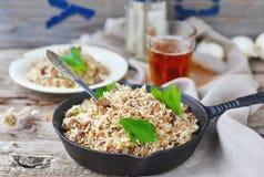 Smutsiga ris med jordnötkött royaltyfria foton