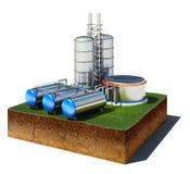 Smutskub med den olje- fabriken och lagring som isoleras på den vita backgroen stock illustrationer