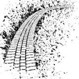 Smutssp?r fr?n beskyddandet f?r bilhjul Gummihjulsp?rkontur svart gummihjulsp?r Vektorillustration som isoleras p? vit bakgrund stock illustrationer