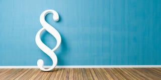 Smybol bianco di paragrafo contro una parete blu - immagine di concetto della giustizia e di legge - rappresentazione 3D Immagini Stock