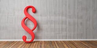Smybol rosso di paragrafo contro un muro di cemento grigio - immagine di concetto della giustizia e di legge - rappresentazione 3 Immagini Stock