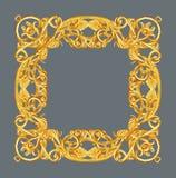 Smycka beståndsdelar, designer för guld- ram för tappning blom- Arkivfoton