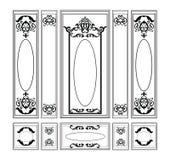 Smyckade dekorativ damast för vektorwainscotingen ramar för väggar eller bakgrunder Royaltyfria Foton