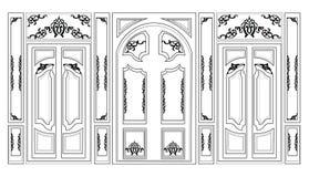 Smyckade dekorativ damast för vektorwainscotingen ramar för väggar eller bakgrunder Royaltyfri Foto