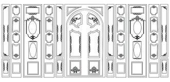Smyckade dekorativ damast för vektorwainscotingen ramar för väggar eller bakgrunder Arkivfoton