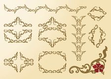 smyckar den blom- ramen för element rokokor Arkivbilder