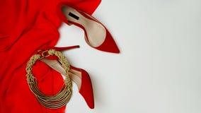 Smycken för tillbehör för skor för klänning för samling för dräkt för berömparti kvinnliga på vit bakgrund Jul och parti för lyck arkivbild
