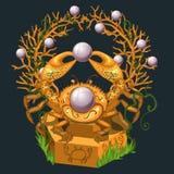 Smycken från den guld- krabban och de stora pärlorna Arkivfoton