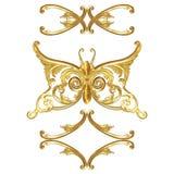Smycken i form av en guld- fjäril på en vit bakgrund Arkivfoton
