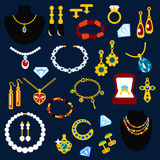 Smycken och ädelstenar sänker symboler Royaltyfri Bild