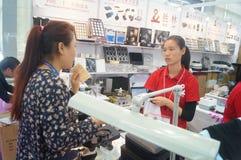 Smycken och jade som bearbetar maskineriutställningförsäljningar Arkivfoton