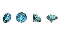 Smyckengems för rund form. Schweizisk blå topaz Royaltyfria Foton