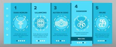 Smyckenlinje fastställd vektor Onboarding för symbol stock illustrationer