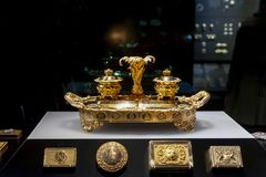 Smyckenutställning på Williamen och Judith Bollinger Gallery i Victoria och Albert Museum Arkivfoto