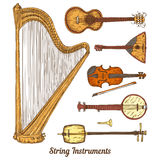Smyczkowi instrumenty muzyczni royalty ilustracja