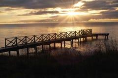 Smygehuk Zweden in zonsondergang met een mooie hemel royalty-vrije stock foto