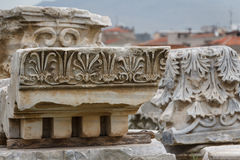 Smyrna,伊兹密尔古城的废墟 免版税库存照片