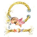 Snäckskal- och havsskepprep stock illustrationer