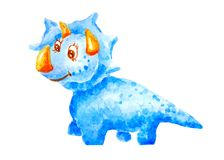 Snälla dinosaurietriceraptors för vattenfärg som ler och som är vänliga på isolerad vit bakgrund stock illustrationer