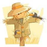 Snälla Smiley Scarecrow vektor illustrationer