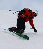 snålskjutsromania snowboard Arkivfoto